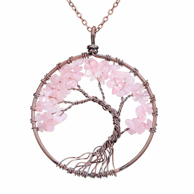 Tree Of Life Necklace Copper, Crystal, Natural Pink Stone