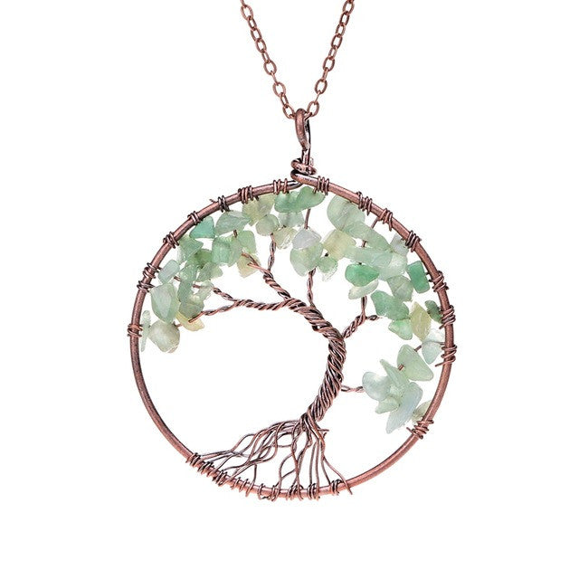 Tree Of Life Pendant Copper, light Green Crystal , Natural Stone Necklace
