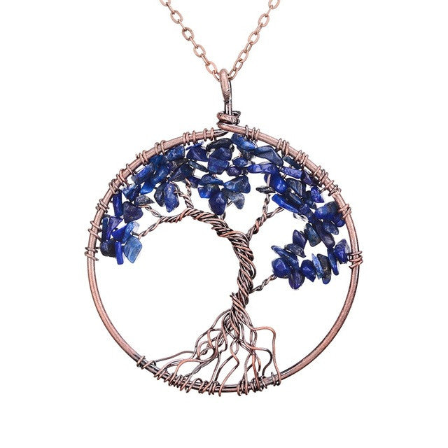 Tree Of Life Copper, Dark Blue Crystal , Natural Stone Necklace