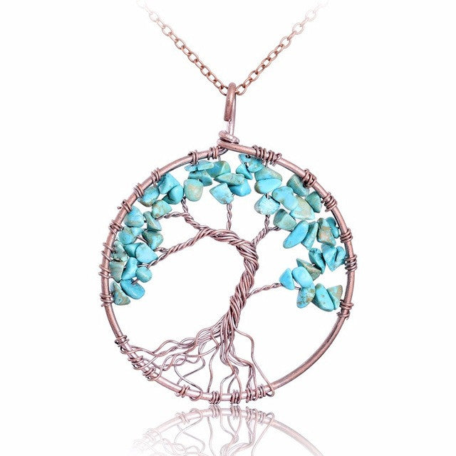 Tree Of Life Pendant Copper,Turquoise Color Crystal , Natural Stone Necklace