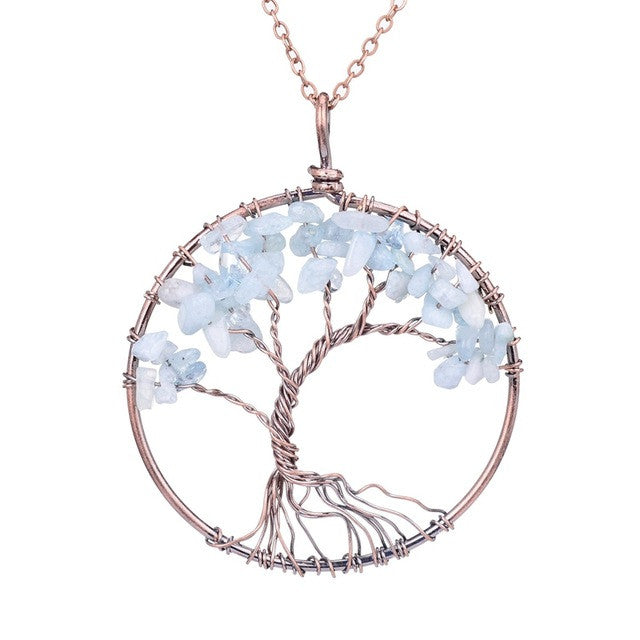 Tree Of Life Pendant Copper, Light Blue Crystal , Natural Stone Necklace