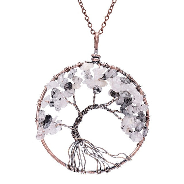 Tree Of Life Pendant Copper, White and Black Crystal Natural Stone Necklace