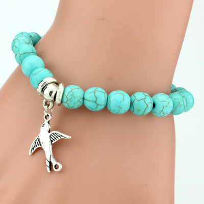 Bohemian Blue Beads & Winged Bird Charm Bracelet