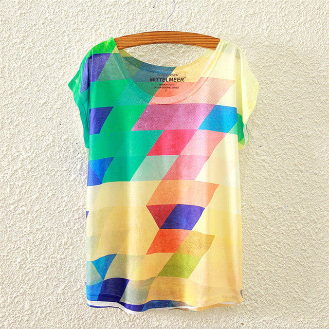 2017 Colorful Geometric Print T-Shirt One-Size