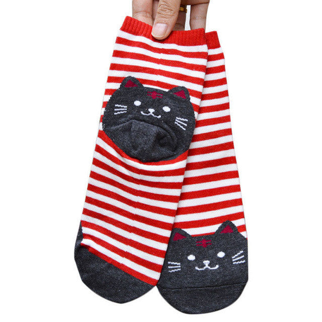 Striped Cat Prints/Women Socks/Red
