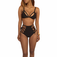2017 Sexy Strappy Solid Black Swim Set