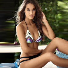 This Year's Everyday Bikini  Sexy Sultry Just Right To Show Off That Tan! Zig Zags Top, Solid Black Bottom