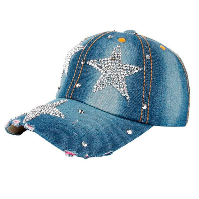 Rhinestone Bling! Denim Blue Withe Sparkly Stars Baseball Cap