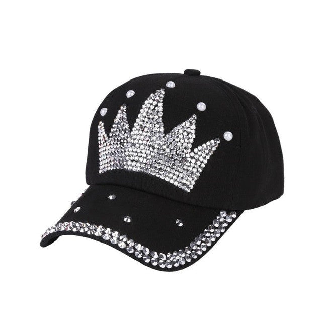 2017 New! Bling Rhinestone Crown Black Baseball Cap