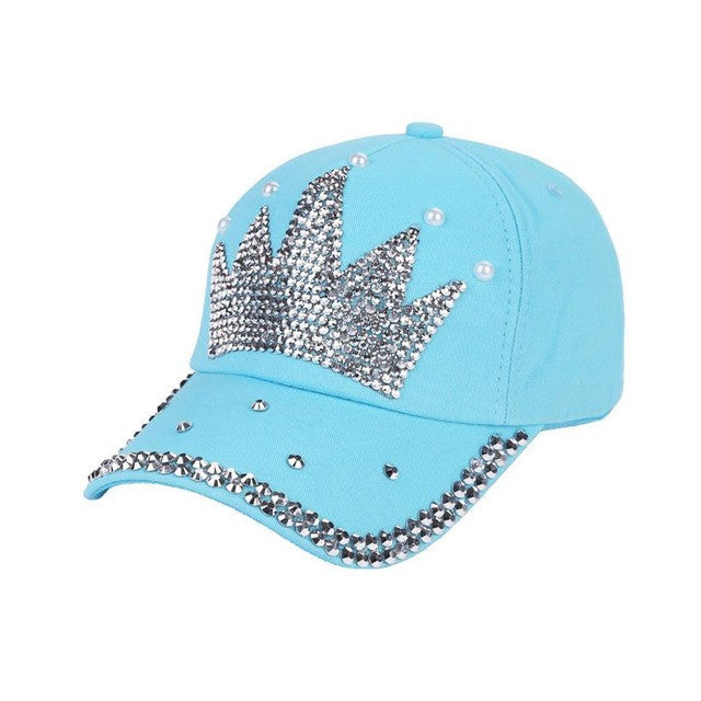 2017 New! Bling Rhinestone Crown Baby Blue Baseball Cap