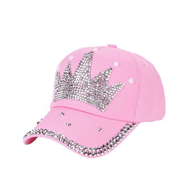 2017 New! Bling Rhinestone Crown Pink Baseball Cap