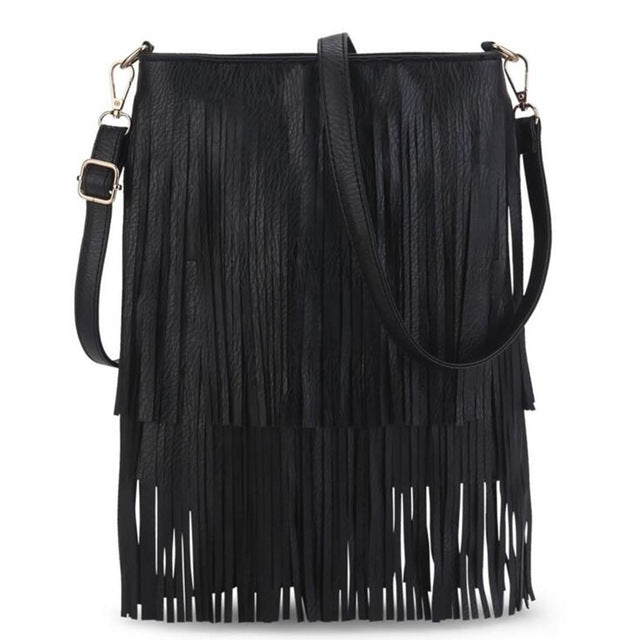2017 NEW! Fringe Shoulder Bag   This Years Design For Messenger Crossbody Purse  BLACK