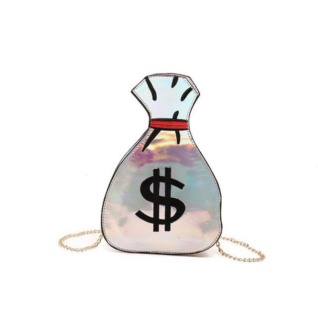 $ One of Kind $ Original Money Bag $ Crossbody/Satchel Over Shoulder Chain/ Lots Slots Inside! For CellPhone/Keys and More! SIlver