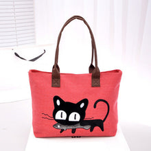 Kitty With a Fish!  So Cute! Canvas Tote Bag/For Lunch/Homework/Books/Paperwork..Anything!! BLack