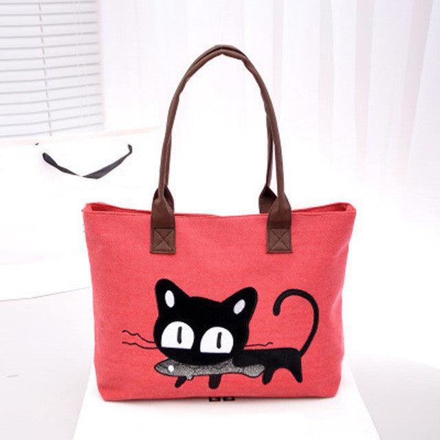 Kitty With a Fish!  So Cute! Canvas Tote Bag/For Lunch/Homework/Books/Paperwork..Anything!!  Red