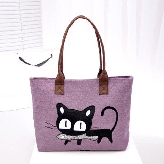 Kitty With a Fish!  So Cute! Canvas Tote Bag/For Lunch/Homework/Books/Paperwork..Anything!!  Purple
