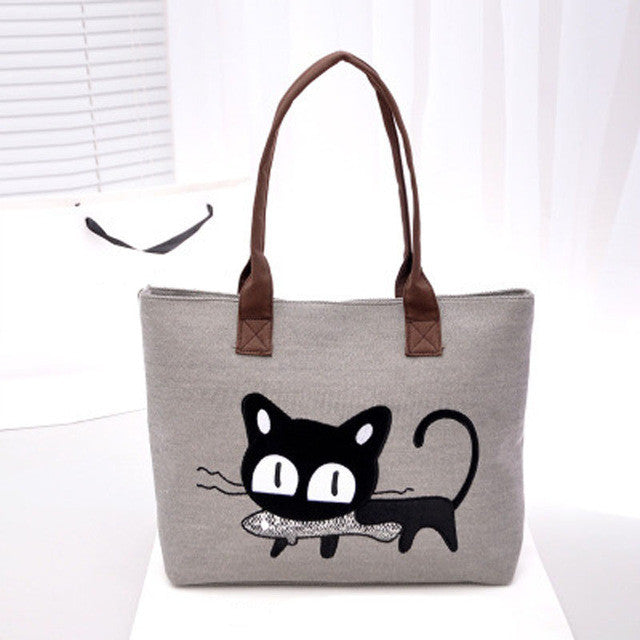 Kitty With a Fish!  So Cute! Canvas Tote Bag/For Lunch/Homework/Books/Paperwork..Anything!!  Tan