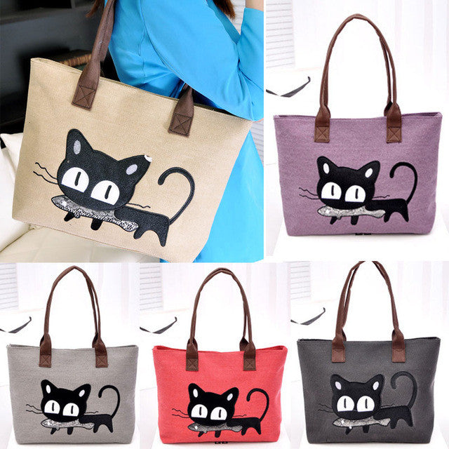 Kitty With a Fish!  So Cute! Canvas Tote Bag/For Lunch/Homework/Books/Paperwork..Anything!!  Random Color/ Be Surprised!!!