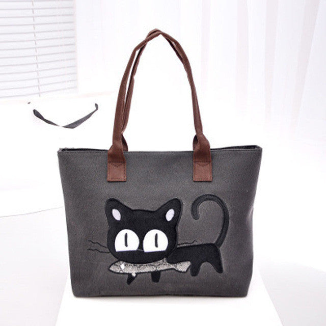 Kitty With a Fish!  So Cute! Canvas Tote Bag/For Lunch/Homework/Books/Paperwork..Anything!!  Grey
