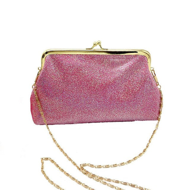 Vintage With A Twist of Sparkles!  Beautiful Crossbody Clutch With Pretty Gold Chain Strap  HOT PINK