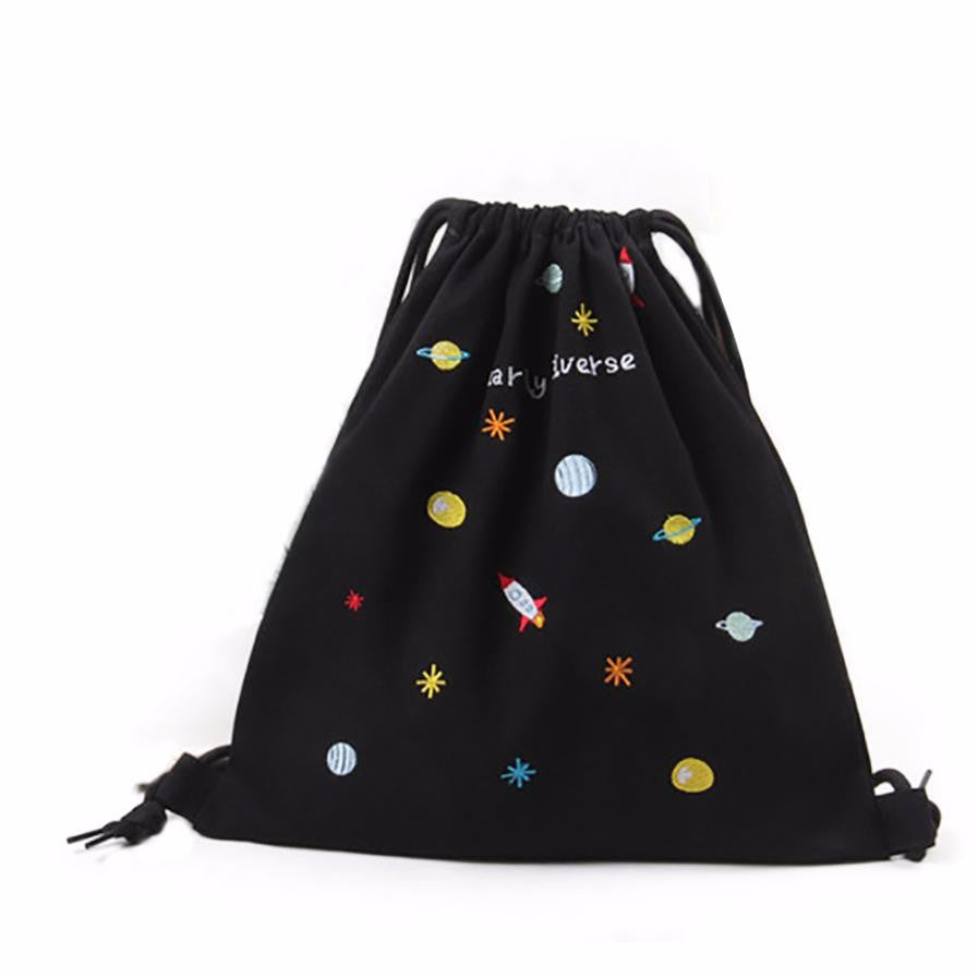 Cool Drawstring Bag  For Everything!! Rocket/Moon And Out of This World!  Black