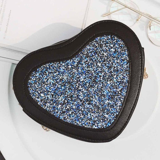 2017!  Blue Sequins Heart Crossbody Shoulder Bag With  Pretty Chain Lots of Compartments For Keys/Cell/ID & More