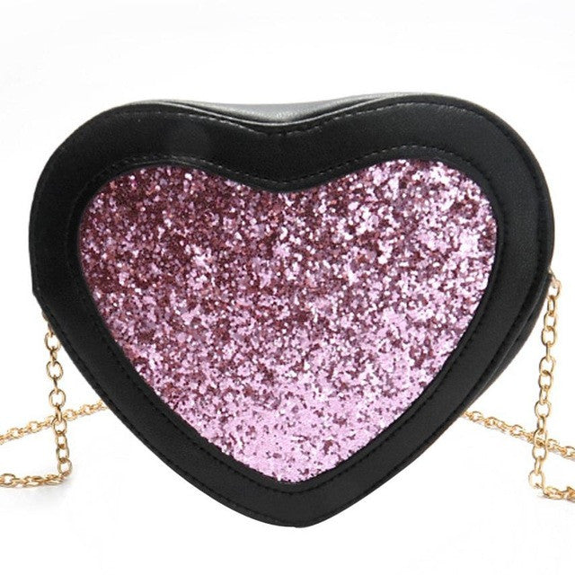 2017!  Pink Sequins Heart Crossbody Shoulder Bag With  Pretty Chain Lots of Compartments For Keys/Cell/ID & More