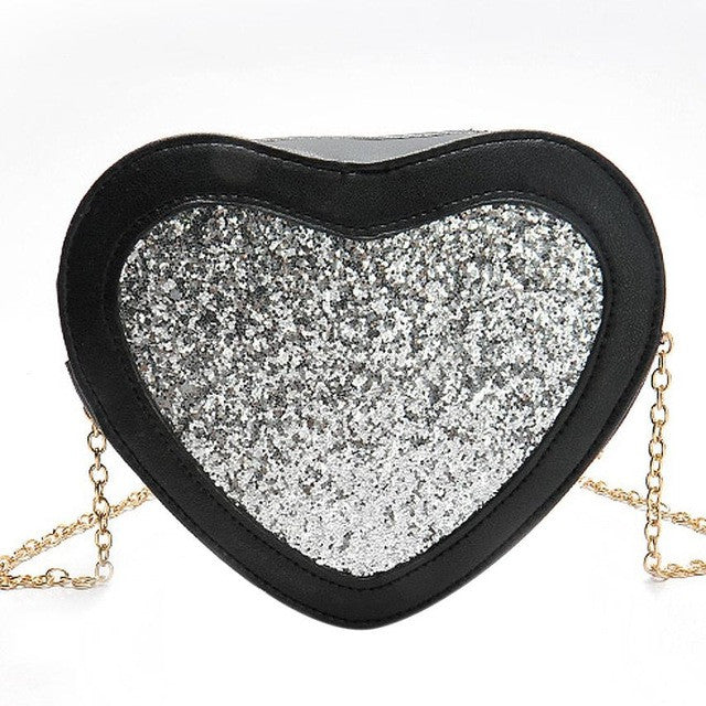 2017!  Silve Sequins Heart Crossbody Shoulder Bag With  Pretty Chain Lots of Compartments For Keys/Cell/ID & More