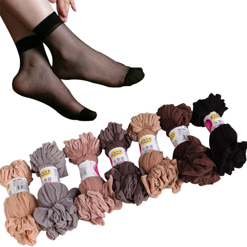 Sexy Summer Silk Transparent 5 Colors Mix Nylon Socks For Women 20pairs/lot