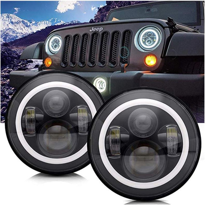 Brawlee™ Jeep Wrangler TJ/LJ/JK/JKU LED Halo Daytime Running Light Headlights with amber turn signal for 1997-2018 Jeep Wrangler TJ/LJ/JK/JKU,