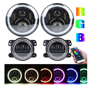 Brawlee™ Jeep Wrangler TJ/LJ/JK/JKU LED Halo Daytime Running Lights RGB Headlights/Fog lights with amber turn signal for 1997-2018 Jeep Wrangler TJ/LJ/ JK/JKU
