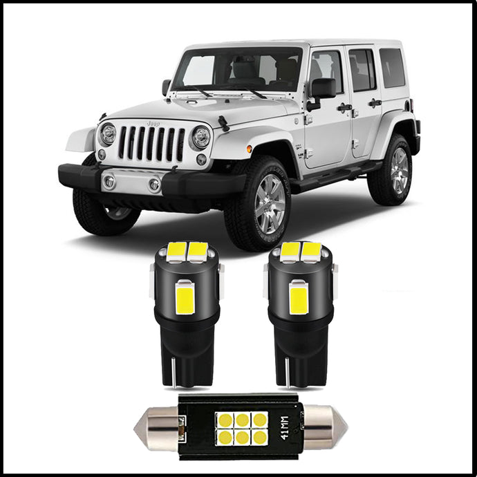 Brawlee Interior LED Dome Light Kit for 2007 -2018 Jeep Wrangler JK and JKU models