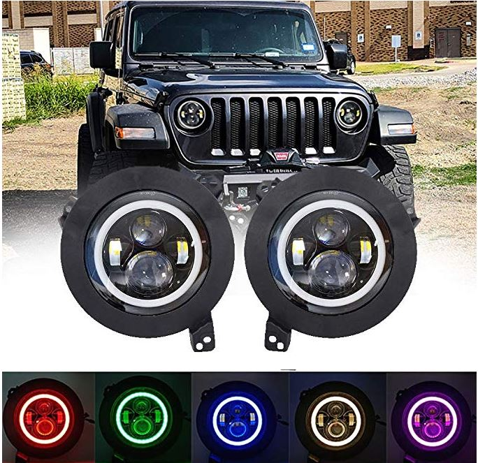 Brawlee™ Jeep Wrangler JL/JLU LED Halo Daytime Running Lights RGB Headlights with amber turn signal for 2018 -19 Jeep Wrangler JL/JLU