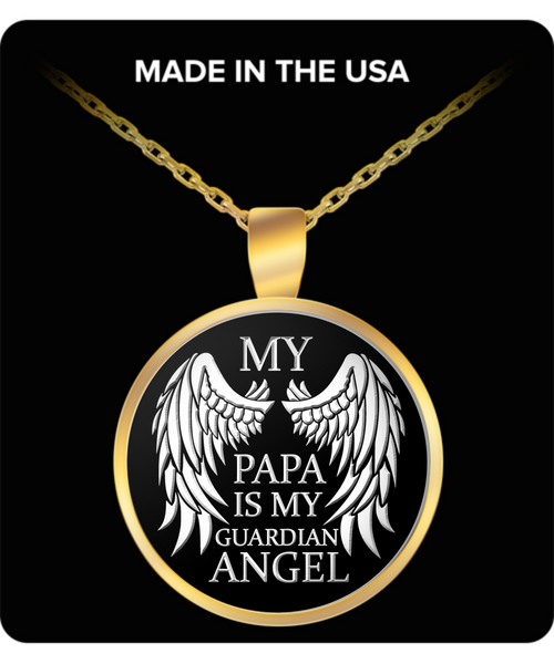 My Papa Is My Guardian Angel Necklace - Unique Novelty Gifts