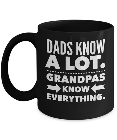 Fathers Day Gift For Dad And Grandpa - Coffee 11oz & 15oz Mug. Unique Gifts Idea For Men & Husband! Make Him Proud On His Birthday, Christmas, Father's Day - Grandpas Know Everything..
