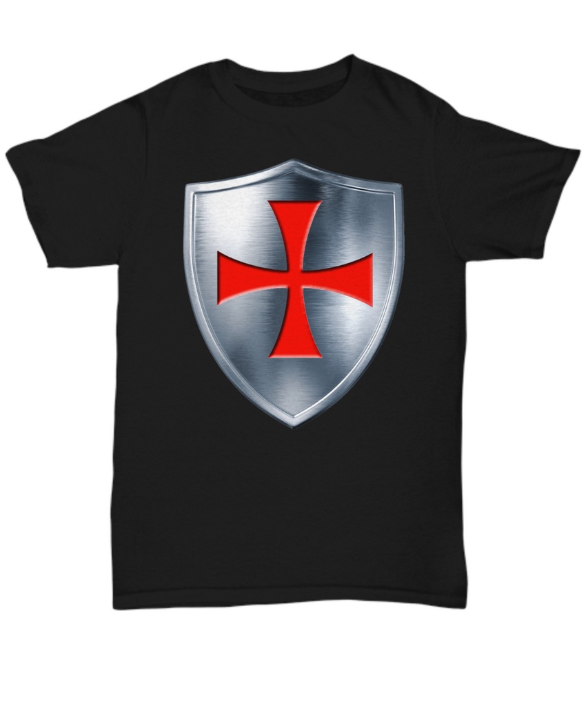 Knights Templar Cross & Shield T-Shirt - Unique Novelty Gifts