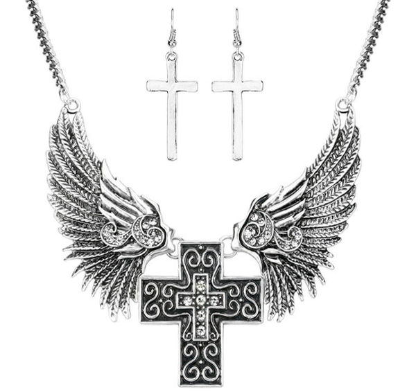 Brightly Cross Necklaces with Angel Wing - Unique Novelty Gifts
