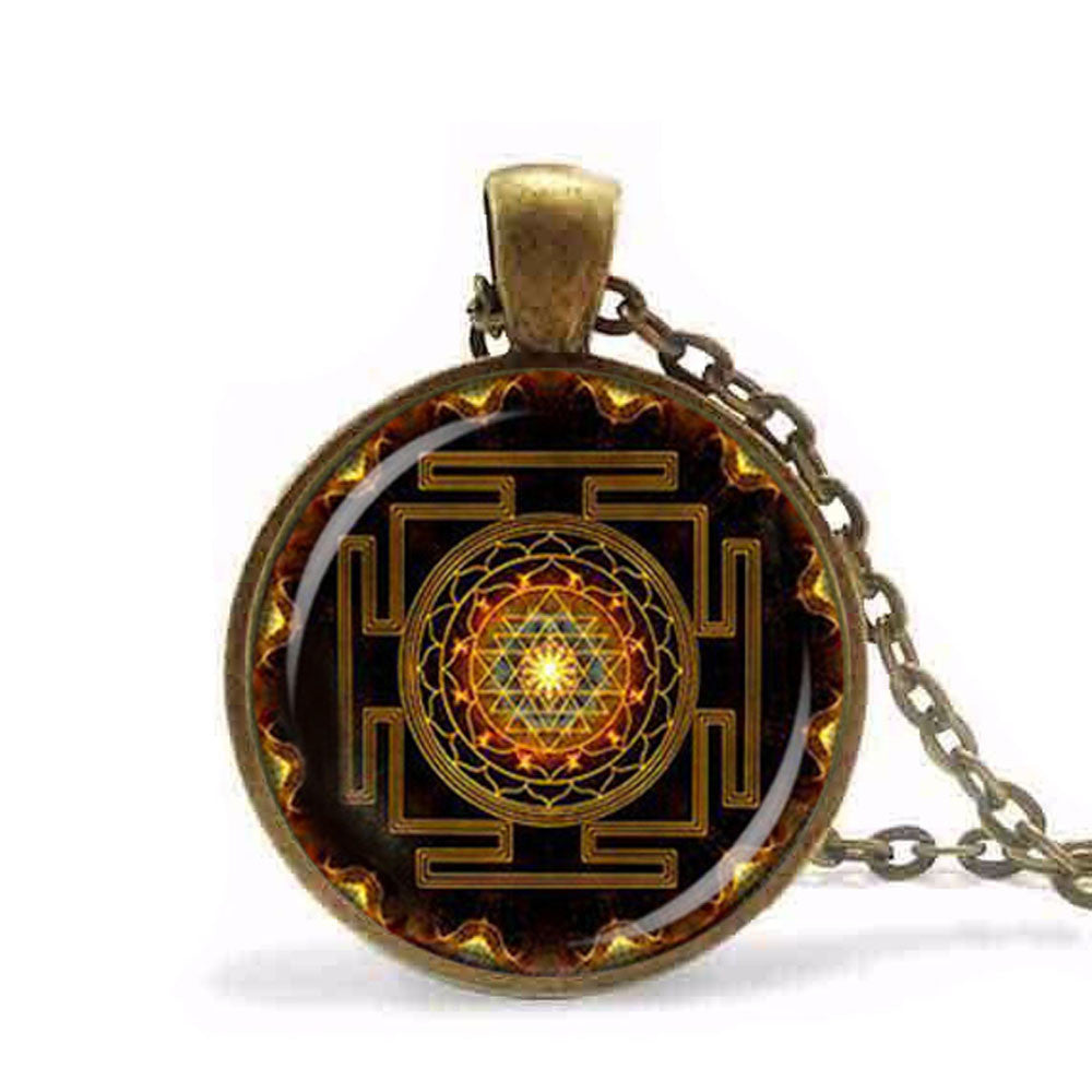 Steampunk Sri Yantra Mandala Glass Dome Pendant Necklace - Unique Novelty Gifts