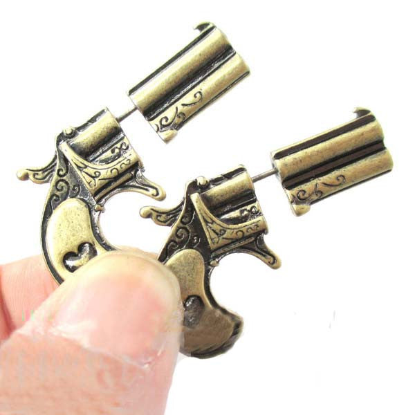 New Fake Double Pistol Gun Shaped Faux Plug Stud Earrings for Women - Unique Novelty Gifts
