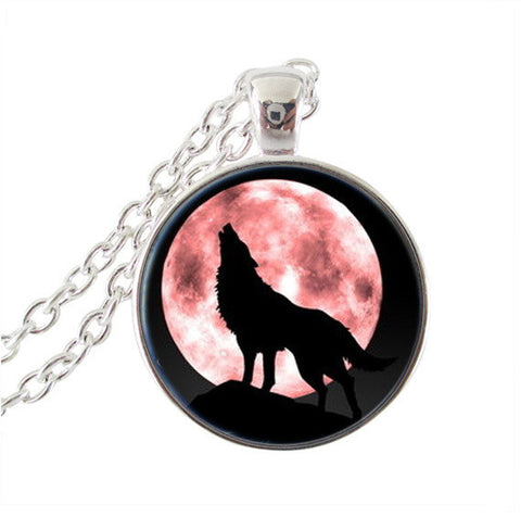 Howling Wolf Pendant Necklace Full Moon Jewelry - Unique Novelty Gifts