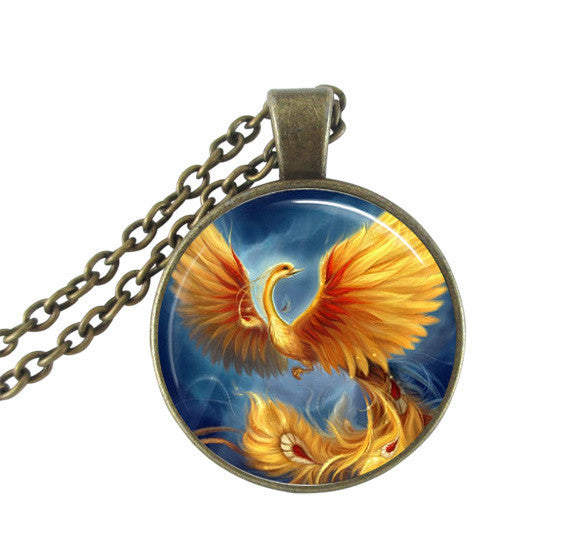 Peacock Pendant Necklace Glass Cabochon Choker - Unique Novelty Gifts