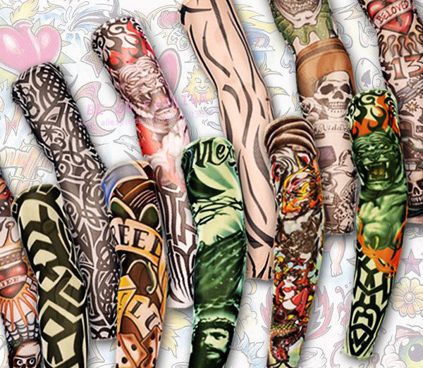 12pcs mix elastic Fake temporary tattoo sleeve 3D art designs - Unique Novelty Gifts