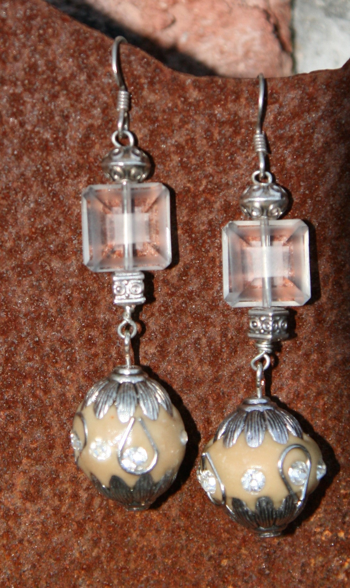 earrings silver blue jasper stone beads product ear and sterling glass hooks with
