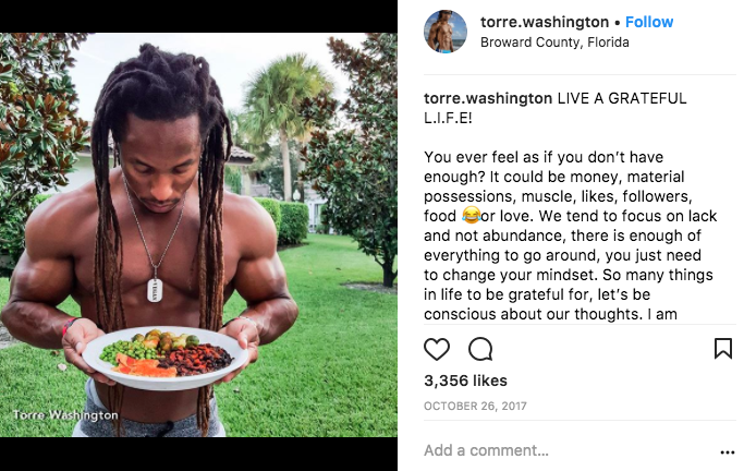 Torre Washington vegan bodybuilder