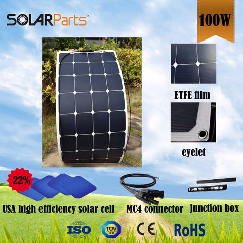 100W semi- flexible transparency  ETFE solar panels mono solar panel solar module for RV/Boat/Golf cart/Marine/Yachts/Home use .