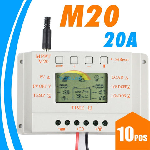 10PCS 20A LCD Solar Charge controller MPPT20 12V 24V Auto Work Solar Panel battery Cells Charger Controller for Solar PV System