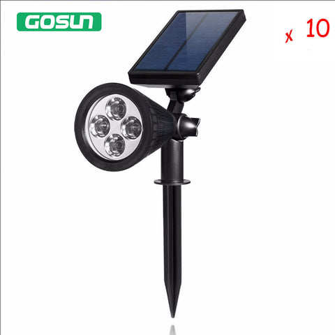 10pcs 2W 5V LED Solar Spotlight 200 Lumens  Adjustable 180 degree super bright Lamp Outdoor Light Waterproof Solar Panel power