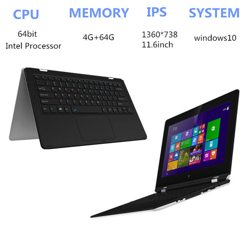 11.6 inch Atom X5-Z8300 laptop Touching Handwriting 4GB+64GB Windows10 Quad core HDMI with WIFI TF Card 1.44GHz tablet