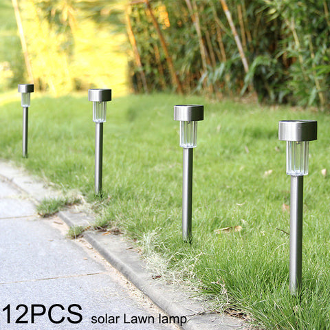 12PCS/Lot Solar panel LED Spike Outdoor Spot Light LED Solar Light Landscape Garden Yard Path Lawn Solar Lamps white light
