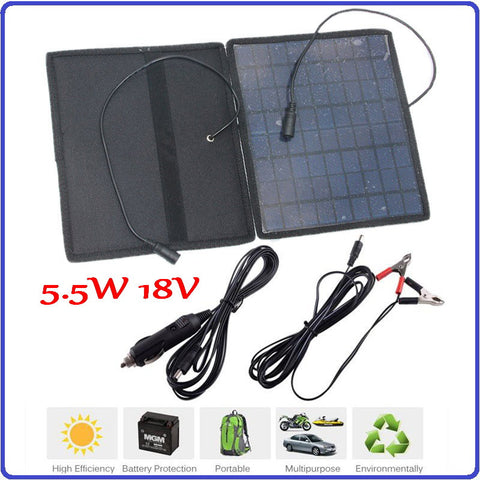 18V Portable Solar Panel 5.5W 12V Battery Charger for Cars Boat Motorcycle Solar Battery Panel With 12V Car Charger
